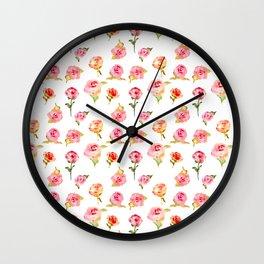 Rosarium. Hand drawn watercolor pattern Wall Clock