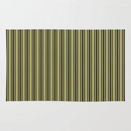 Large French Khaki Mattress Ticking Black Double Stripes Rug