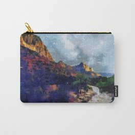Milky Way rising over the Watchman in Zion National Park Carry-All Pouch