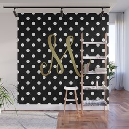"""Retro Black and White Polka Dot with Gold """"M"""" Monogram Wall Mural"""