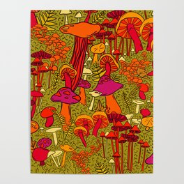 Mushrooms in the Forest Poster