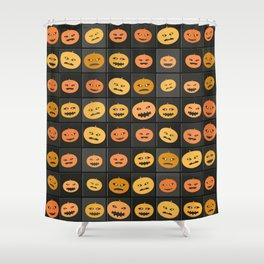 Pumpkin Check Shower Curtain
