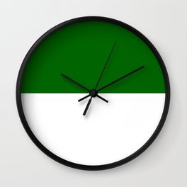 White and Dark Green Horizontal Halves Wall Clock