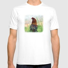The Hen - Glance Back 730 Mens Fitted Tee MEDIUM White