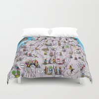 climbing Duvet Covers featuring Bubble climbing by Caiocomix