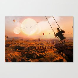 Swinging with Balloons by GEN Z Canvas Print