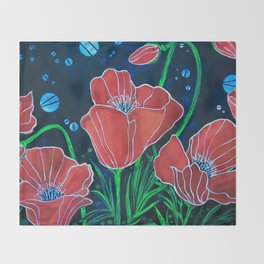 Stylized Red Poppies Throw Blanket