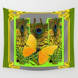 GREEN ART NOUVEAU BUTTERFLY PEACOCK PATTERNS Wall Tapestry