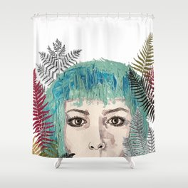 Blue-haired girl with leaves Shower Curtain