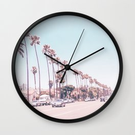 California Sidewalks // Blue Ocean Skyline Roadside Palm Trees Tropical Hollywood Paradise Wall Clock