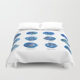 Watercolor Zodiac Star Constellations Duvet Cover