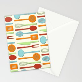 Kitchen Utensil Colored Silhouettes on Cream II Stationery Cards