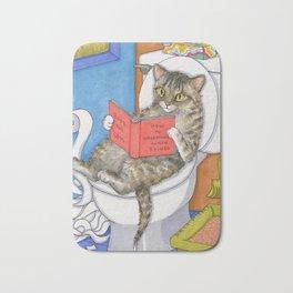 Cat on toilet Bath Mat