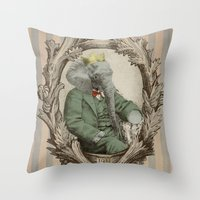 yetiland Throw Pillows featuring Royal Portrait, 1931 by Eric Fan