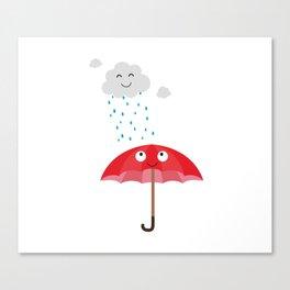 Rain cloud and umbrella   Canvas Print