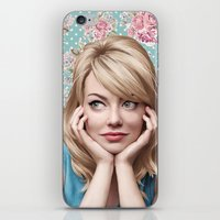 emma stone iPhone & iPod Skins featuring EMMA STONE by FISHNONES