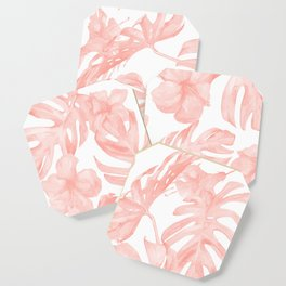 Tropical Palm Leaves Hibiscus Flowers Coral Pink Coaster