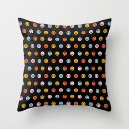 Smiley - Black Multi Throw Pillow