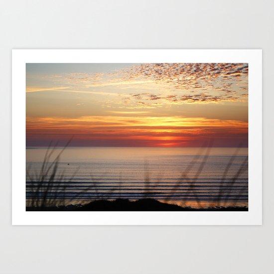Sunset Surf Gwithian Bay Art Print