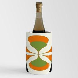 Mid-Century Modern Art 1.4 - Green & Orange Flower Wine Chiller