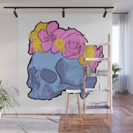 Cute Blue Skull with Pink and Yellow Flower Crown Wall Mural