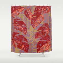 Hawaiian Lava Leaves Tapa Print Shower Curtain