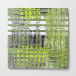 Street Plaid-Lime Metal Print