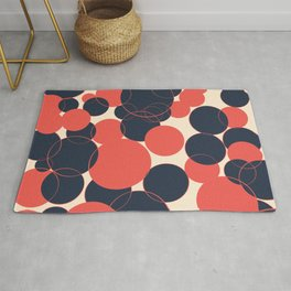 Coral and Navy Blue Abstract Dots Design Rug