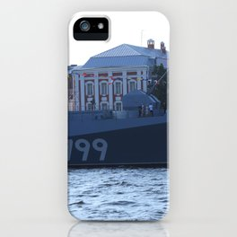 A cannon on the nose of the Navy warship Admiral Makarov with the identification number 799. iPhone Case