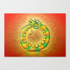 Crazy snake Biting its own Tail Canvas Print