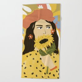 Sunflowers In Your Face Beach Towel