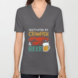 Motivated By Crawfish & Beer Unisex V-Neck