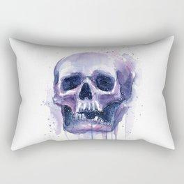 Skull in Watercolor Galaxy Space Rectangular Pillow
