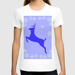 DECORATIVE LEAPING CHRISTMAS  BLUE DEER & SNOWFLAKES T-shirt