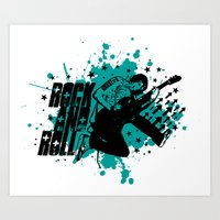 rock and roll Art Prints featuring Rock & Roll by Chamber Decals