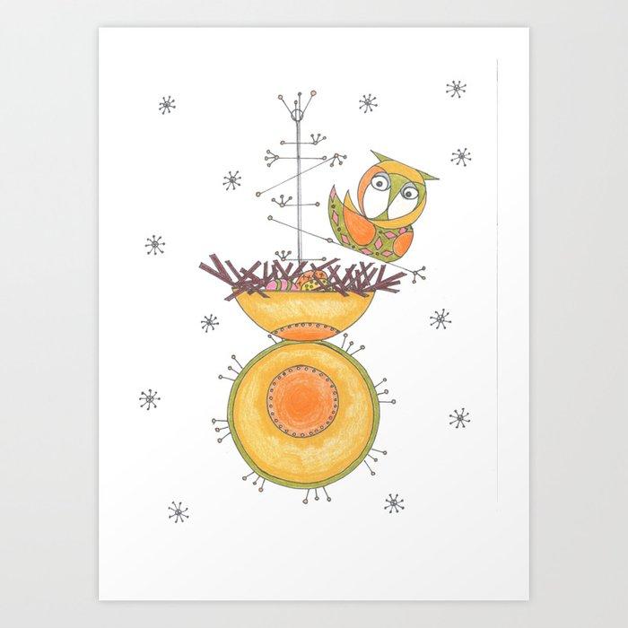 MidCentury Modern Whimsical Owl & Satellite Nest Art Print