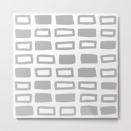 Mid Century Modern Abstract Squares Pattern 442 Gray Metal Print