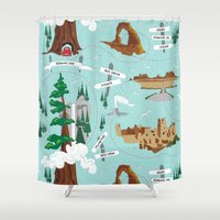 parks Shower Curtains featuring National Parks by Julie's Fabrics & Thingummies