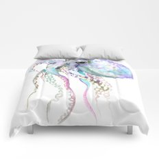 Octopus (soft gray, violet, turquouse) Comforters