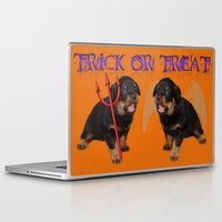 rottweiler Laptop & iPad Skins featuring Cute Rottweiler Halloween Trick or Treat Greeting  by taiche