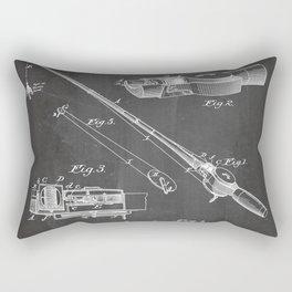Fishing Rod Patent - Fishing Art - Black Chalkboard Rectangular Pillow