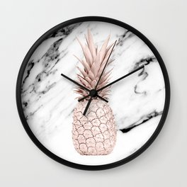 Pineapple Rose Gold Marble Wall Clock