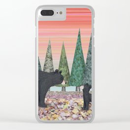 black bears & evergreens Clear iPhone Case