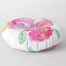Pink Watercolor Flowers // Floral Feelings Floor Pillow