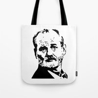 bill murray Tote Bags featuring Bill Murray by Spyck