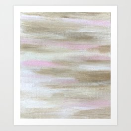Neutral Abstract Pink and Cream Art Print
