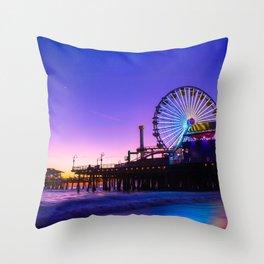 Santa Monica purple sunset Throw Pillow