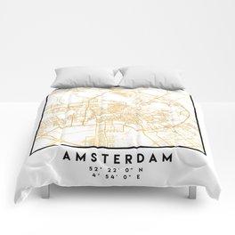AMSTERDAM NETHERLANDS CITY STREET MAP ART Comforters