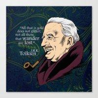 tolkien Canvas Prints featuring JRR Tolkien by Cellar Door Books, Ltd.