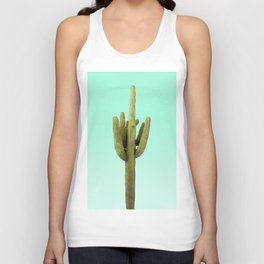 Cactus on Cyan Wall Unisex Tank Top